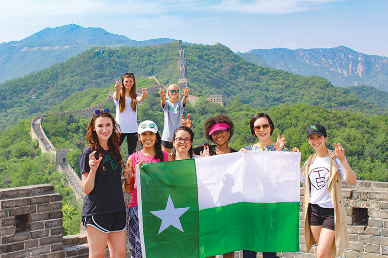 UNT students posing on the Great Wall
